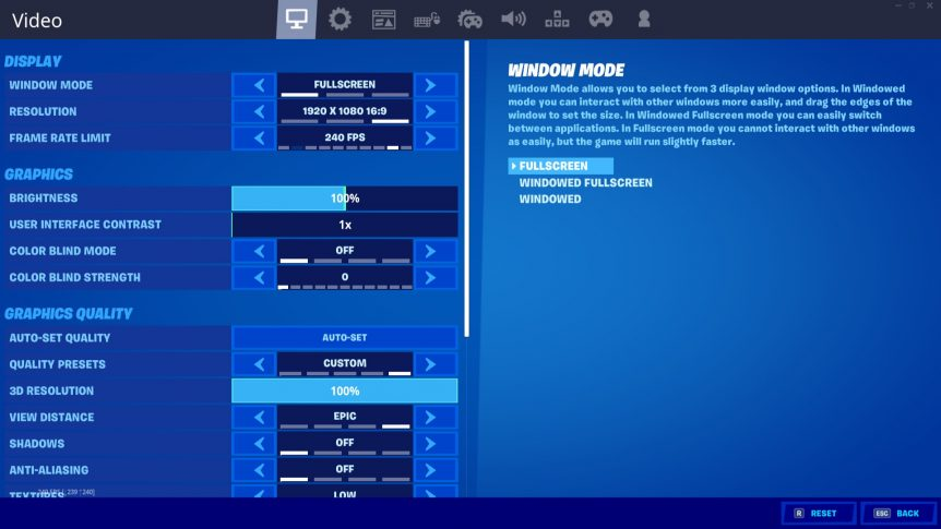 Best Settings For Fortnite for PC